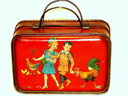 Early Dutch Children Rooster Toy Lunch Box Biscuit Tin 1920
