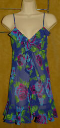 BETSEY JOHNSON Intimates - Colorful - Floral Design - Sheer Lingerie Nighty sz M