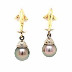 Tahitian Drop Pearl And Dolphin Shaped Earring 14k White And Yellow Gold
