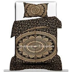 Black Gold Bedding Indian Twin Duvet Cover With One Pillow Cover Flower Mandala