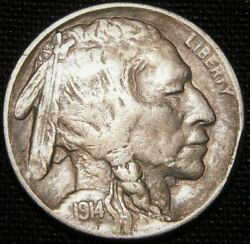 1914/3 Over Date Buffalo Nickel - Extra Fine To Au Condition