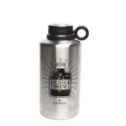 Manna Silver Stainless Steel Home Brew Ring Growler Water Bottle Bpa Free 64 Oz