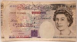 Great Britain 1993 20 Pounds .collectors Misprint Different Serials .miscut.rare