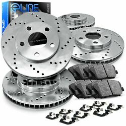 Front,Rear Eline Series Silver Cross-Drilled Brake Rotors + Ceramic Pads A2961