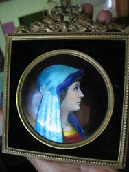 Exquisite Vintage Enamel On Copper Portrait Of A Young Woman Framed Signed