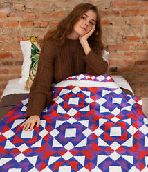 Patchwork Abstract Patchwork Design Finished Quilt - Unique Borders - Queen Size