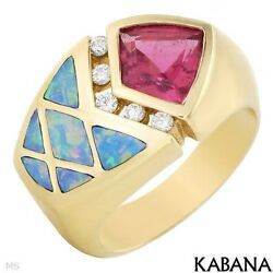 Kabana Made Usa 14k Gold Ring With 1.35 Ctw Rubellite And Diamonds. Size 6.5. New