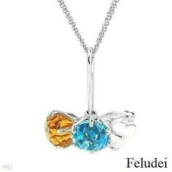 Feludei Vibrant Italy 18k White Gold Necklace With 24.10ctw Precious Stones. New
