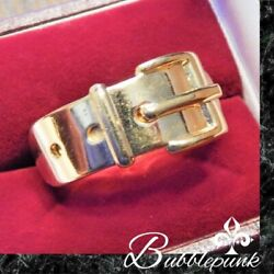 Authentic Designer Signed Vintage GUCCI Italy Gold Buckle Band Scarf Ring
