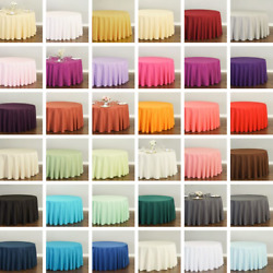 120 In. Round Polyester Tablecloth 33 Colors 1/10 Pack Wedding Party Event
