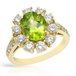Certified 14k Y/gold Ring With 4.10ctw Clean Si Diamonds And Peridot. Size 6.5 New