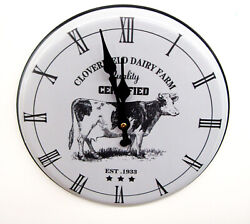 New Cloverfield Dairy Farm 10 Kitchen Clock With A Cow Motif Fga-74529