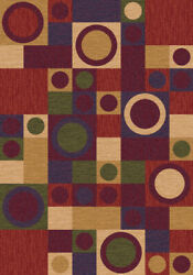 Milliken Red Rings Dots Circles Contemporary Area Rug Geometric Rialto Dark Red