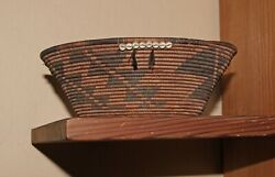 Outstanding Pomo Coiled Gift Basket With Clam Shell Beads And Feathers 8 1/4d