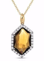 Falcinelli Italy 18k Y/gold Necklace With 5.30ctw Quartz And F/vs Diamonds. New