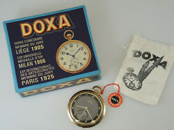 Solid 14k Doxa Pocket Watch With Box And Tags C1925