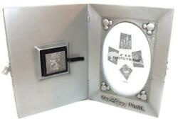 Disney 100 Years Of Magic Mickey Silver Pewter Picture Frame Case + Pin 4x6 Nib