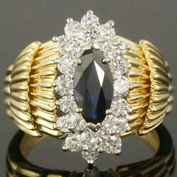 Massive Retro Solid 18k Yellow Gold .92 Ct Sapphire And .42 Cttw Diamond Ring