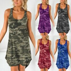 Womans Fashion T-shirt Dress Top Causal Camo Printed Dress Plus Size Tank Tops