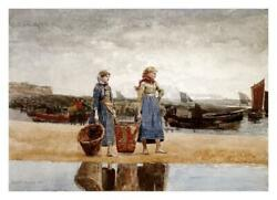 Two Girls On The Beach, Tynemouth-paper Art-32x23.09