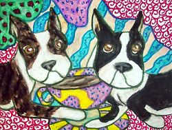 BOSTON TERRIER Drinking Coffee Collectible Dog Art Print 8 x 10 Signed by KSAMS