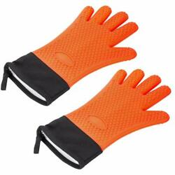 Bbq Grill Oven Gloves Silicone Heat Resistant Insulated Gloves For Cooking