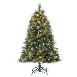 Home Heritage 5ft Colorful Led Pre-lit Christmas Tree W/ Pine Cones And Glitter