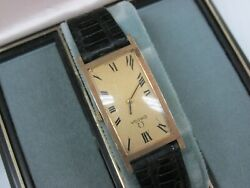 Vintage 14k Gold Omega Large Rectangle Wind Up Watch With Box And Papers