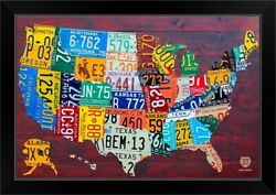 License Plate Map Usa Large Black Framed Wall Art Print Map Home Decor