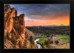 Sunset At Smith Rock State Park In Black Framed Wall Art Print, Oregon Home