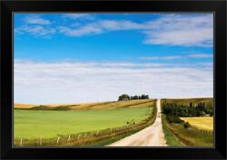 Gravel Road With An Oat Field And A Black Framed Wall Art Print, Countryside