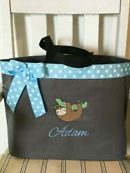 Cute Sloth Personalized Baby Diaper Bag Tote Monogrammed Baby Shower Gift