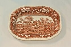 Spode English China Tower Brown Oval Serving Bowl 9 1/8 Inches