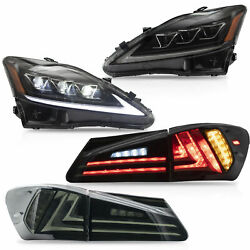 AMBER LED Headlights + SMOKED Taillights for 06-13 IS250350 Sedan 08-14 IS F