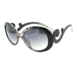 Womens Designer Sunglasses Round Oval Shape Curvy Wavy Temple Black Pattern