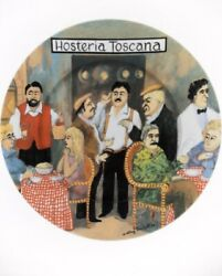 Guy Buffet Tuscan Storefronts Hosteria Toscana Dinner Plate 10 7/8