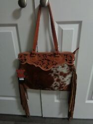 American Darling CODY TOTE PURSE-BROWN AND WHITE COWHIDE W FRINGE-14 X 12-NWT