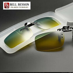 Day and Night Vision Polarized Lens Flip Up Clip On Driving Glasses Reduce Glare