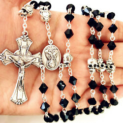 Silver Skull Beads And Black Crystal Glass Catholic Rosary Necklace Italy Cross