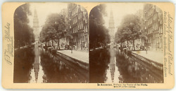 Stereo Pays-bas, Nederland, Holland, Amsterdam, Un Canal, 1894 Vintage Stereo Ca