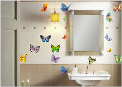 2Pcs Butterfly Bathroom Sticker Home Decor Living Room Kitchen Wall Stickers DIY