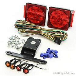 Submersible Square Led Light Kit Under 80 Boat Trailer And 2 Red 2 Amber Marker