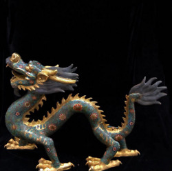 29.92 Collector Old Chinese Antique Copper Cloisonne Dragon Statue