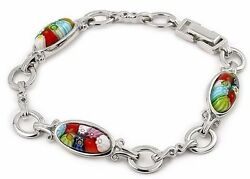 Alan K. 3 Oval Bracelet Multicolor Millefiory And St/silver. Weight 20.8 Gr. 7.5