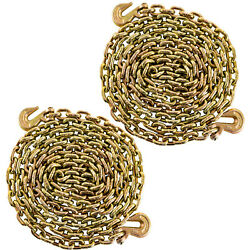 2 Pack 3/8 20and039 Tow Chain Tie Down Binder W/grade 70 Hooks Truck Trailer Usa
