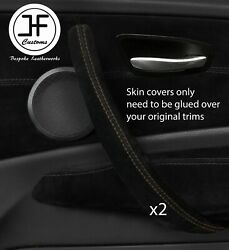 Brown Stitch 2x Front Door Handle Trim Suede Cover For Bmw 1 E87 04-12 Dsg2