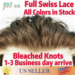 Mens Toupee Hairpiece Full French Lace Basement Wig Human Hair Replacemen System