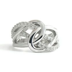 Wide Diamond Love Knot Statement Ring 14k White Gold .32 Ctw 9.82 Grams