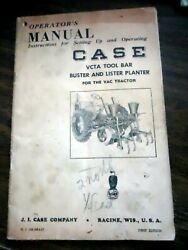 Case Vcta Tool Bar Buster And Lister For Va Tractor Owners Operators Manual