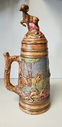 Large Holland Mold Stein With Ram Figure On The Lid And 3d Animal Decoration